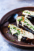 Roast aubergine with cream