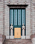 The granite facade of the central train station in Helsinki, Finland
