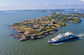 A cruise ship off the fortified island of Suomenlinna, Helsinki, Finland