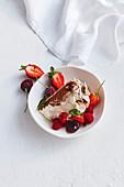 Cacao Pavlova with fresh berries
