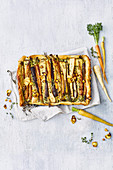 Roasted root vegetable and goat's cheese filo tart