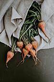 Turnips on a linen cloth