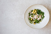 Bass ceviche with pineapple and coriander