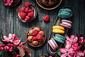 Colorful macarons and chocolate tartlets
