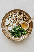 Sheep's cheese, herbs and sunflower seeds