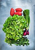 Various salad ingredients