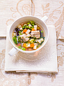 Vegetable soup with eel