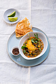 Vegetable curry with a carrot and lime froth