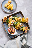 Corn-fed chicken satay with courgettes