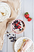 Vegan yoghurt with berries