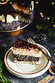 Christmas gluten free cake with poppy seeds and vegan cheese
