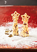White Christmas trees with pretzel stars