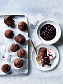 Syruped Red Wine and Blueberry Cakes
