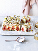 Fig and Pistachio Dacquoise Coconut Mousse Cake