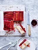 Upside-Down Rhubarb, Ginger and Hazelnut Cake