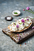 Bread with cottage cheese and herbs