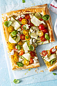 Filo pastry tart with vegetables and feta