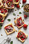 Rhubarb and strawberry tarts