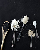 Baking ingredients - poppy seeds, flour, sugar, yeast, salt