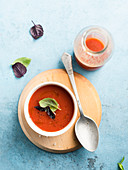 Tomato soup with red basil