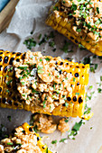 Roasted corn with peanut sauce