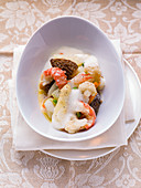 Seafood varieties with scampi and morels