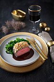 Venison saddle with cabbage