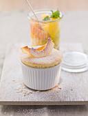 Coconut soufflé with fruit salad