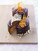 Chocolate and walnut cake with caramel shards