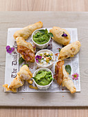 Zander in beer batter with pea puree