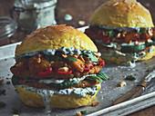 Indian veggie burgers with yellow buns