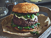 Stuffed ork burger with cheese