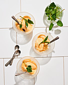 Apricot sorbet with mint garnish