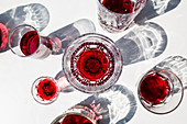 Cherry wine in different glasses