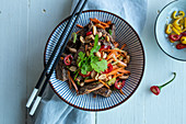 Asian beef salad with vegetables and peanuts