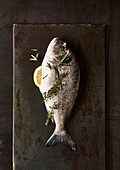 Whole raw sea bream with a lemon wedge and herbs