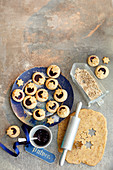 Jam filled thumbprint cookies