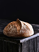 Huusbrot on a black wooden plate