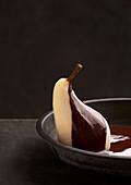 Pear helene with chocolate sauce