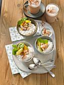 Coconut milk rice with fruit salad