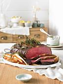 Roast beef with roasted vegetables