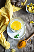 Golden milk with turmeric and mint