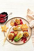 Jakobsmuscheln mit geröstetem Chicorée und Salatherz (weihnachtlich)