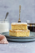 Silviakaka - traditional Swedish cake with coconut