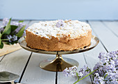 Blueberry crumble cake on a golden cake stand