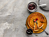 Yorkshire curd tart With blackberry sauce