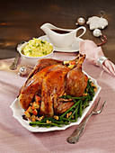 Stuffed turkey with green beans