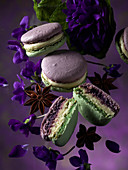 Macarons with violets and star anise