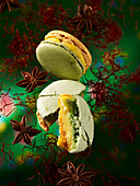 Macarons with saffron and star anise