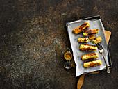 Leek cheese 'sausages'